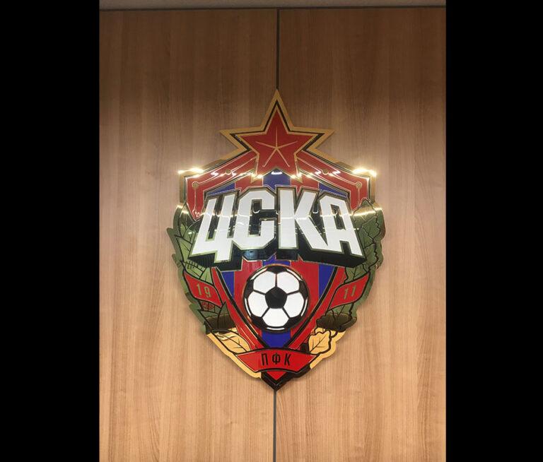 Объемный логотип с гравировкой и заливкой автоэмалью