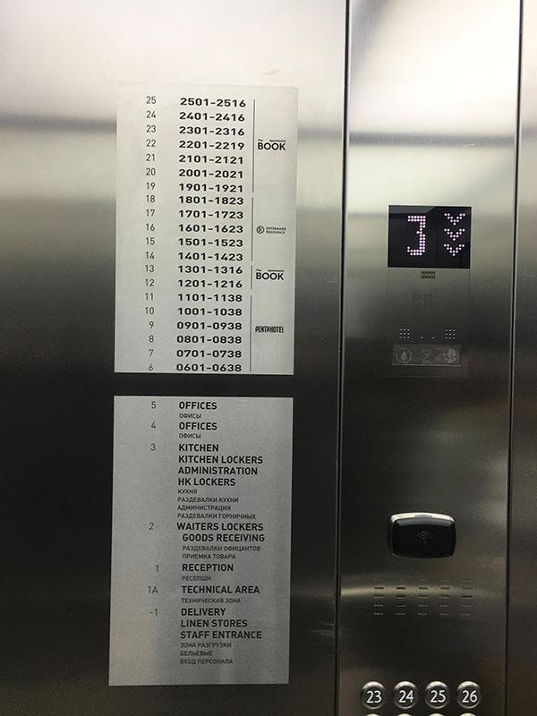 Навигация по этажам в кабине лифта